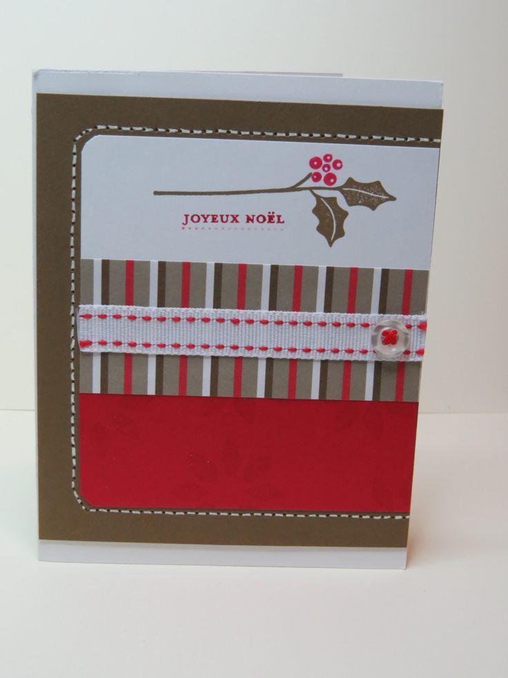 Carte de Noël feuille de gui Stampin up de la boutique LaMainalacarte sur Etsy