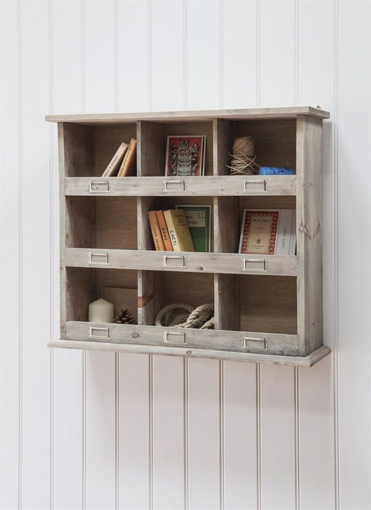 wooden shelving unit at garden trading