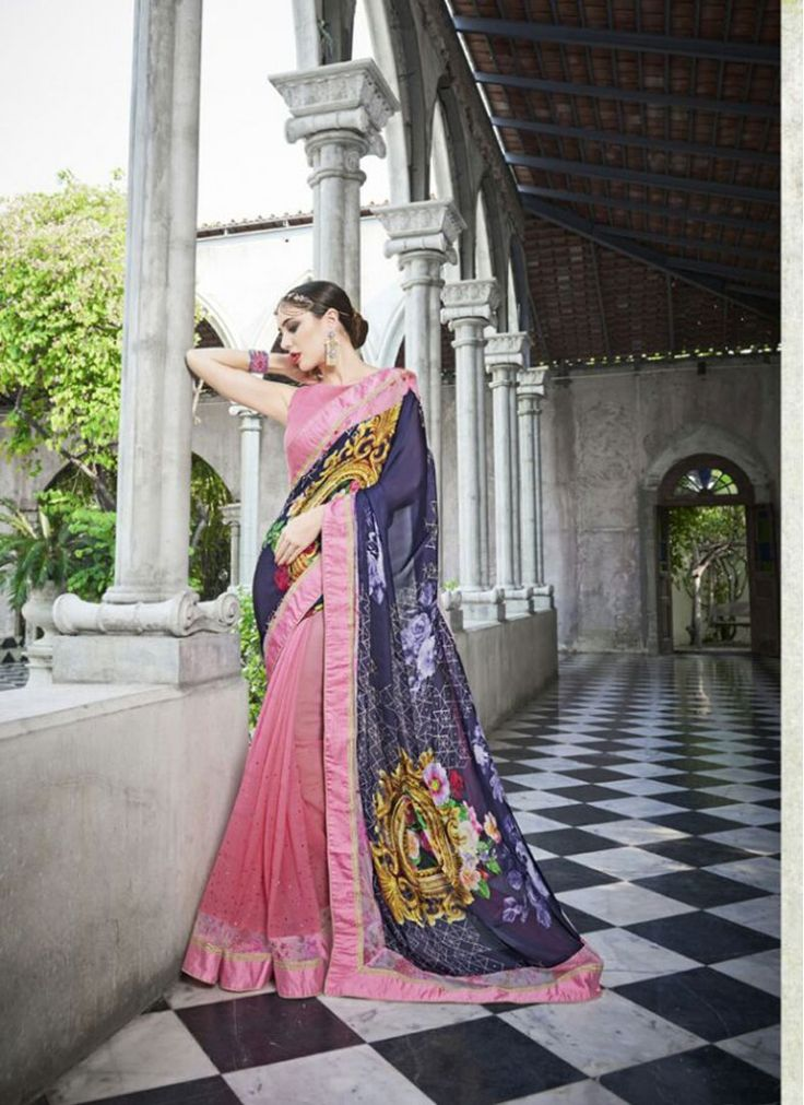 Preferable Digital Print Faux Georgette Blue and Pink Fancy Printed saree