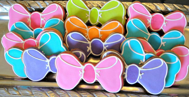 Bow Cookies Decorated Bow or Bow Tie Cookies Birthday Party Favors One Dozen. $24.00, via Etsy.