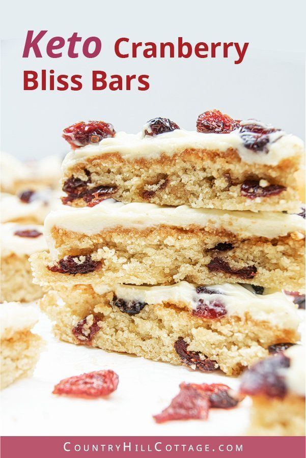 Gluten Free Cranberry Bliss Bars Low Carb Keto Paleo Cranberry