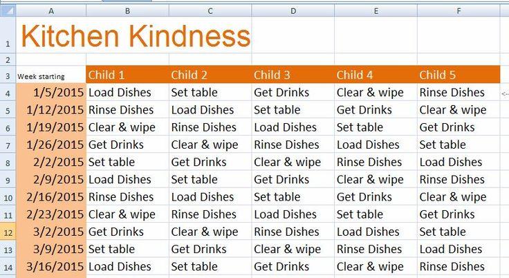 Children Daily Chore Chart Template