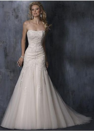 2012 Absorbing Strapless Applique Petite Organza Sweep Length Wedding Dress (WDT-040)