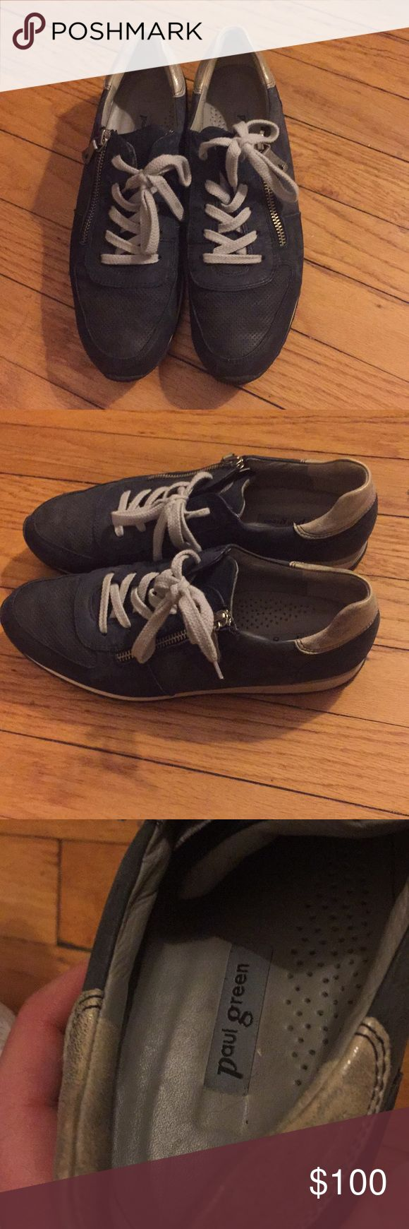 Paul Green Blue Althletic Shoes Size 9 Awesome navy blue Paul Green athletic shoe with zippers. Minimally worn. In great condition. These shoes are great for anyone who wants stylish shoes with orthopedic type support. Paul Green Shoes Athletic Shoes