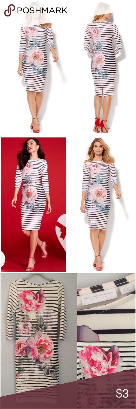 ✨SALE✨ Scuba Striped/Floral Sheath Midi Dress New With Tags. New York & Company Floral/Stripe printed scuba sheath midi dress. Size: M. Bold blooms soften the graphic stripes on our sophisticated sheath dress, designed in scuba fabric with a timeless bateau neckline. Online Exclusive! Details: Boat-neck.Darts at bust line. Invisible back zipper. Princess seams on back.Back vent. 3/4-length sleeve. Straight silhouette.Shoulder to hem length: 42-½ inches. 95% Polyester, 5% Spandex. New York…