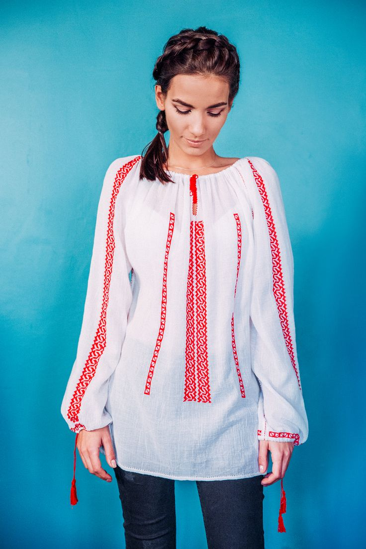 100% handmade Romanian blouse, embroidered on the sleeves and front  with red thread.  Price: 450 lei (100 EUR) Details on:  facebook.com/singularRO singularwear@yahoo.com #traditionalpatterns #limitededition #romanian #embroidery #ready #to #wear