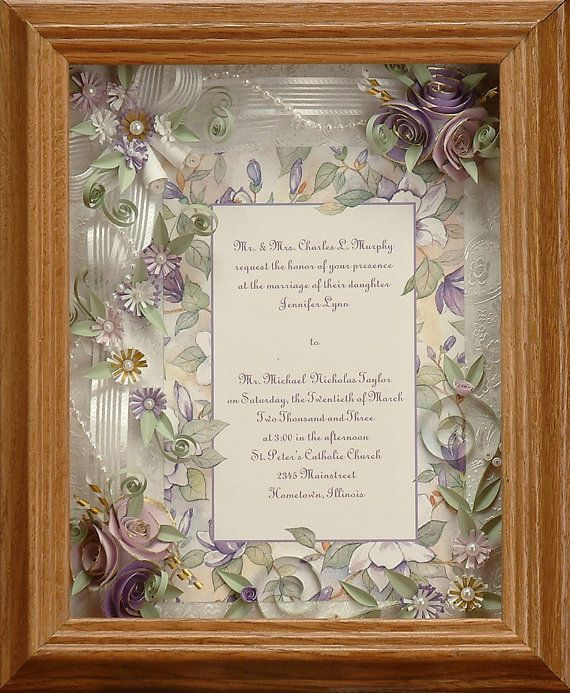 Wedding Invitation Gifts Ideas: Framed Wedding Invitation. Spring Wedding, Lavender