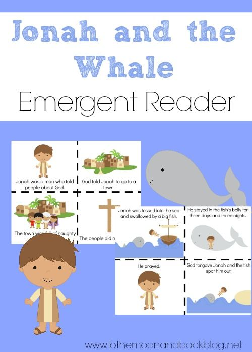 W is for Whale {FREE Jonah and the Whale Printable Emergent Reader!} - To the Moon and Back