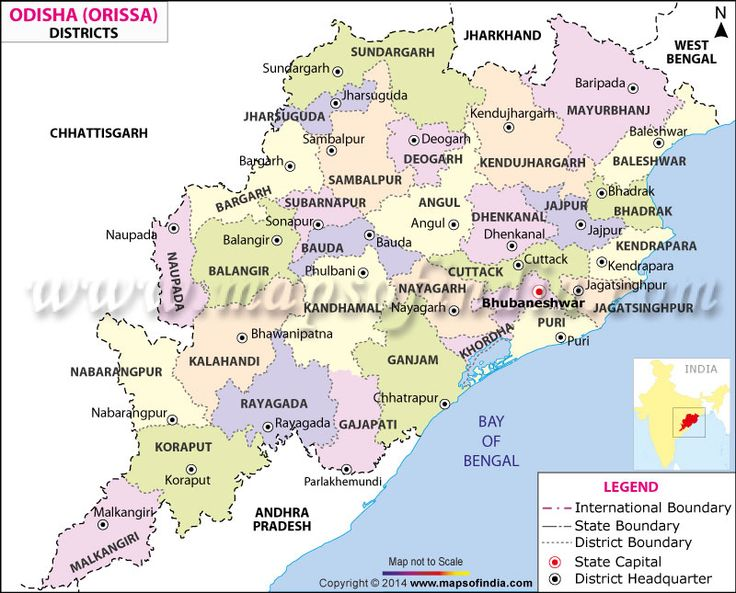 #Map showing all the districts in the state of Odisha