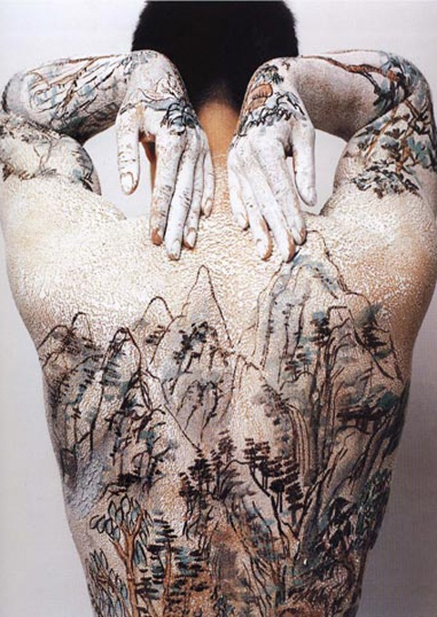 Huang Yan, Tattoo series,1999 connection w/ traditional art- landscapes painted on scrolls, but when put on body becomes political.