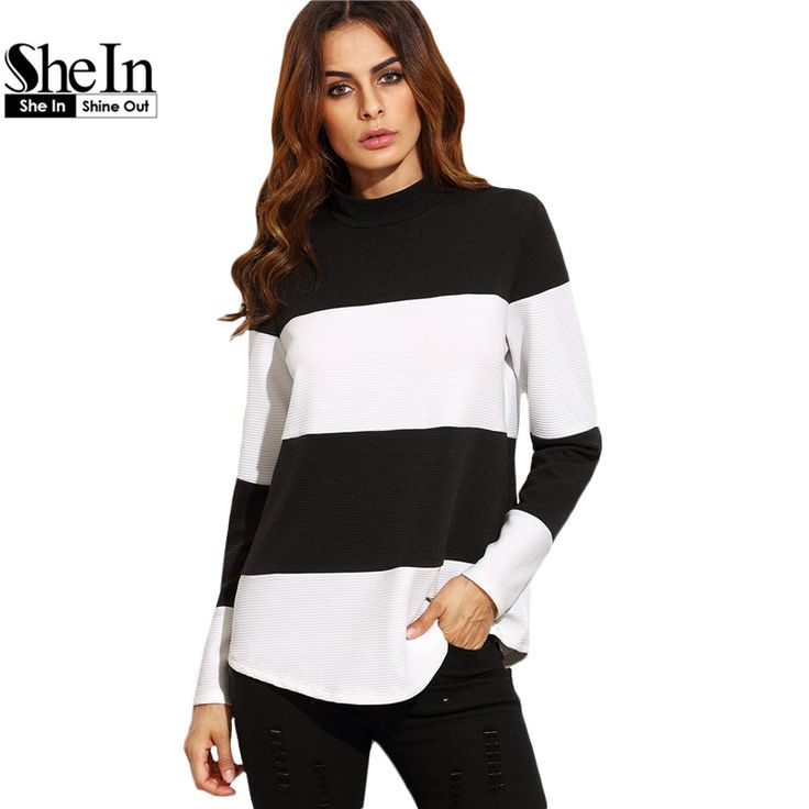 SheIn Women Tops Autumn Pullover Sweatshirt Ladies Black and White Contrast Wide Striped Mock Neck Textured Sweatshirt