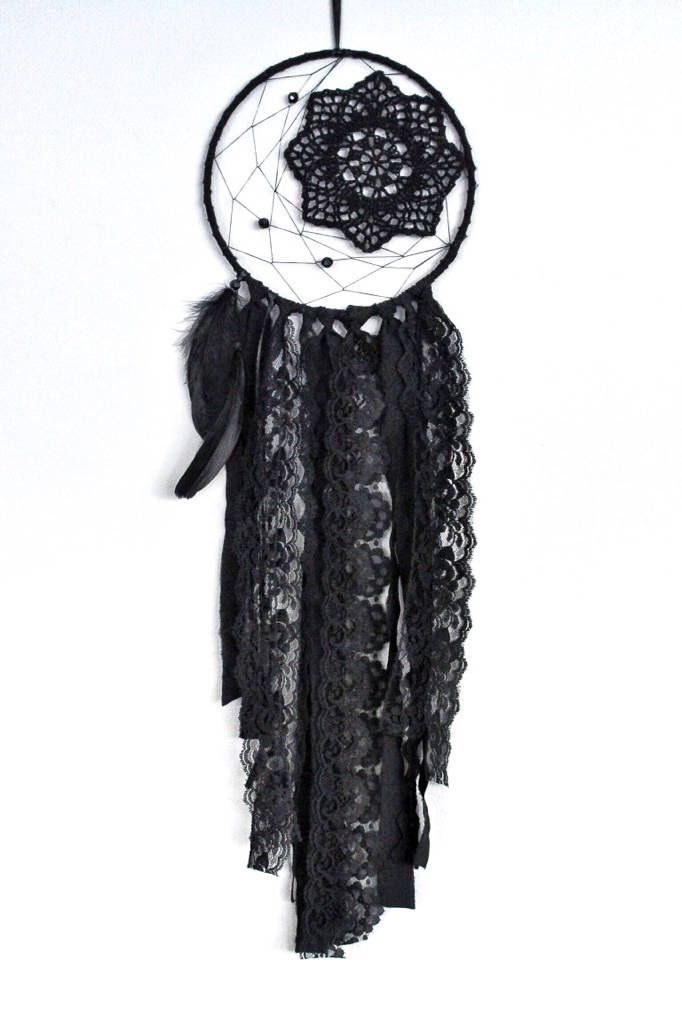 All black boho dreamcatcher, dream catcher, goth dreamcatcher, unique dreamcatcher, boho wall decor by autumnandlilydesigns on Etsy https://www.etsy.com/ca/listing/576506834/all-black-boho-dreamcatcher-dream