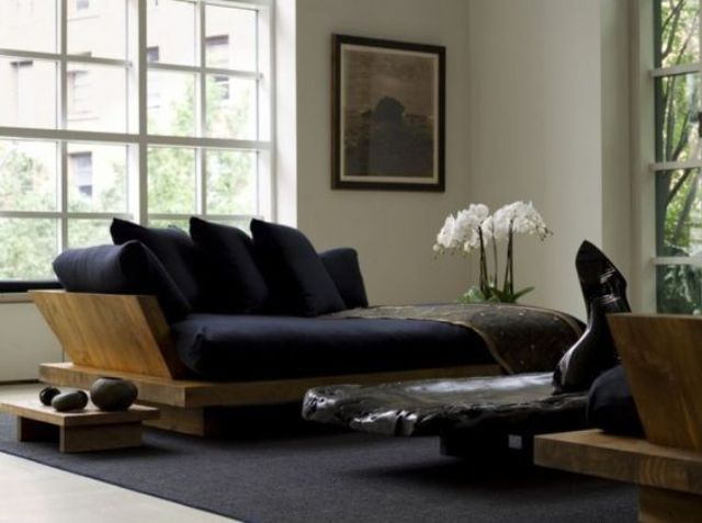 furniture is the easiest way to incorporate wood into a Japanese living room