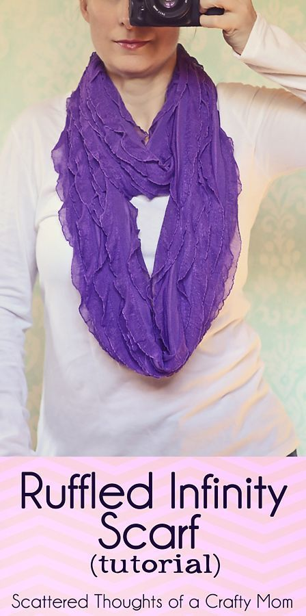 Sew this gorgeous Ruffled Infinity Scarf with pre-ruffled fabric!