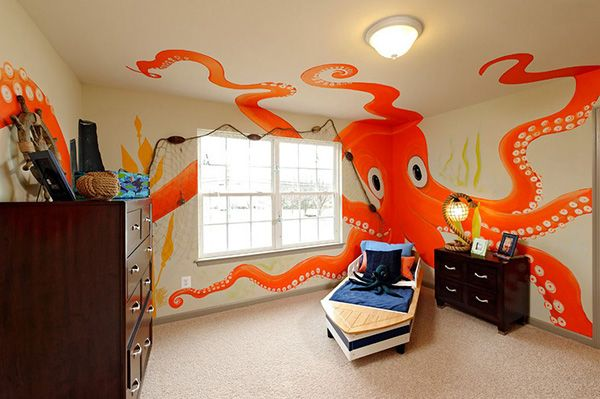 Boys Bedroom Ideas For Toddlers   For a more colorful sea theme, go for a nautical theme. Instead of using the classic red and blue color scheme, go for intense colors like this bright orange and yellow-greenish mural. A fancy boat bed and sea-worthy accents like the rope table lamp, fish net window treatment and more will be a big hit for your little sailor.