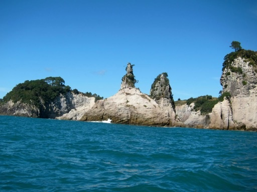 The rocks used for the location of the castle in the Narnia movies, south of Cathedral Cove.