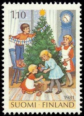 Joulupostimerkki 1981 2/2 - Joulukuusen koristelua