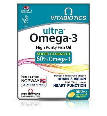 #Vitabiotics #Ultra #Omega-3 #Capsules - 60 #Capsules #40 #Advantage card #points. High #Purity Fish Oil. #Super #Strength 60% #Omega-3. DHA #helps to #maintain #normal #function of #Brain and #Vision. DHA EPA #support #normal #Heart #Function. FREE #Delivery on #orders over 45 GBP. #(Barcode EAN=5021265222575)