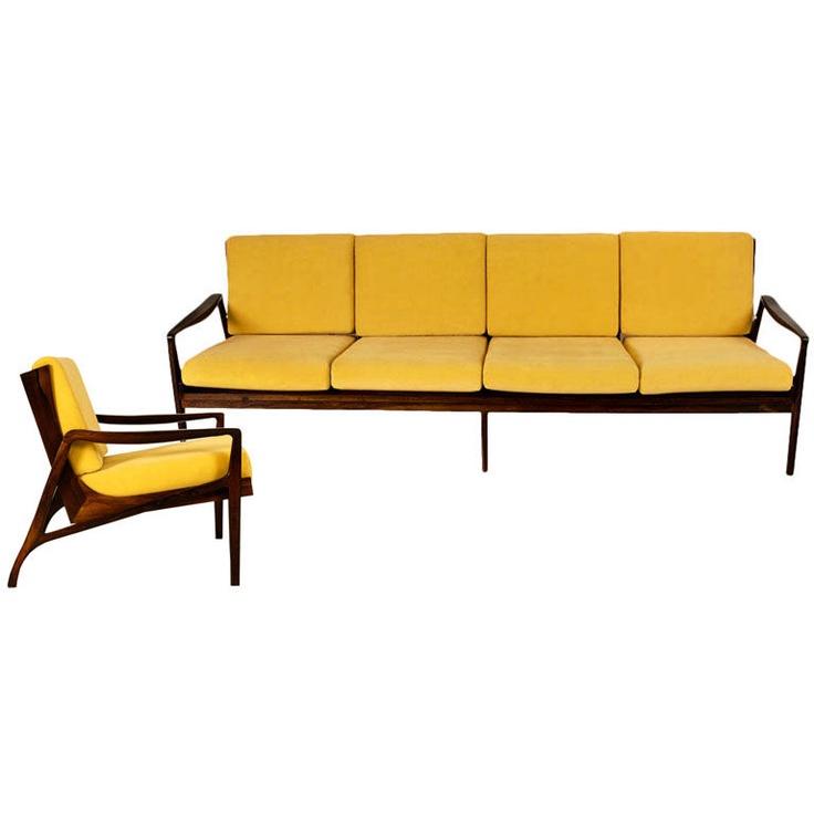 1950s Jacaranda Sofa U0026 Armchair