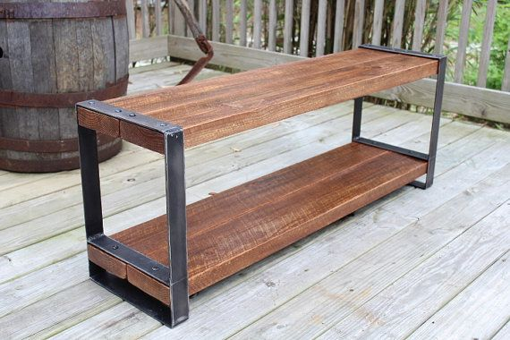 Reclaimed wood bench, Entertainment center, Console, Heavy duty, Industrial bench, Fast shipping,Urban, Barn wood,Furniture, Flat steel legs