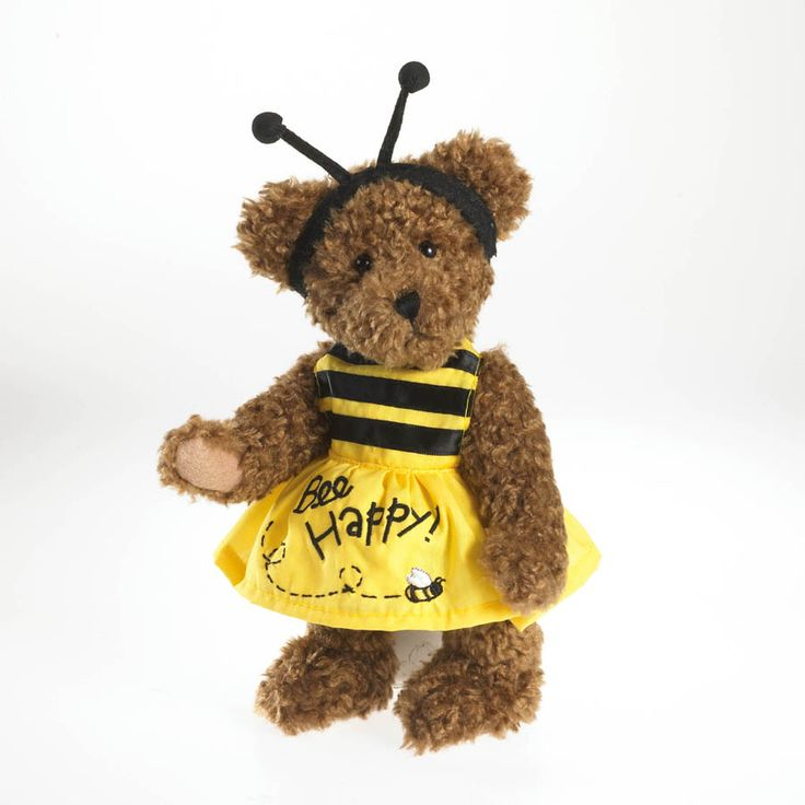 Bee happy and share that happiness with someone you love! Happy Bee Bear is an 8-inch, fully-jointed, gen-u-wine Boyds« bear. She's crafted in mocha chenille and features handcrafted details throughout. Her yellow cotton, bumble bee inspired dress, sh