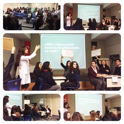 """Özel Mürüvvet Evyap Koleji ve Fen Lisesi Edebiyat zümresi tarafından 11. sınıf öğrencilerinin katıldığı """"Mehmet Akif Ersoy Konulu Bilgi Yarışması"""" düzenlendi. 11-A, B, C ve Fen sınıflarından dörder kişilik gruplar halinde katılan öğrencilerimize yirmişer klasik soru sorularak yanıt vermeleri istendi. Yarışmada aynı anda sorulara yanıtlar veren ve yirmi sorunun 16'sını doğru bilerek yarışmada 1. olmaya hak kazanan sınıf 11-FEN oldu."""