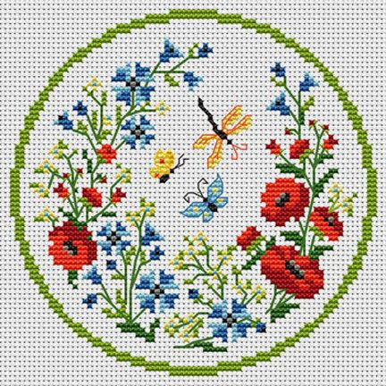 Butterfly and Flowers Sampler Wreath Counted Cross Stitch