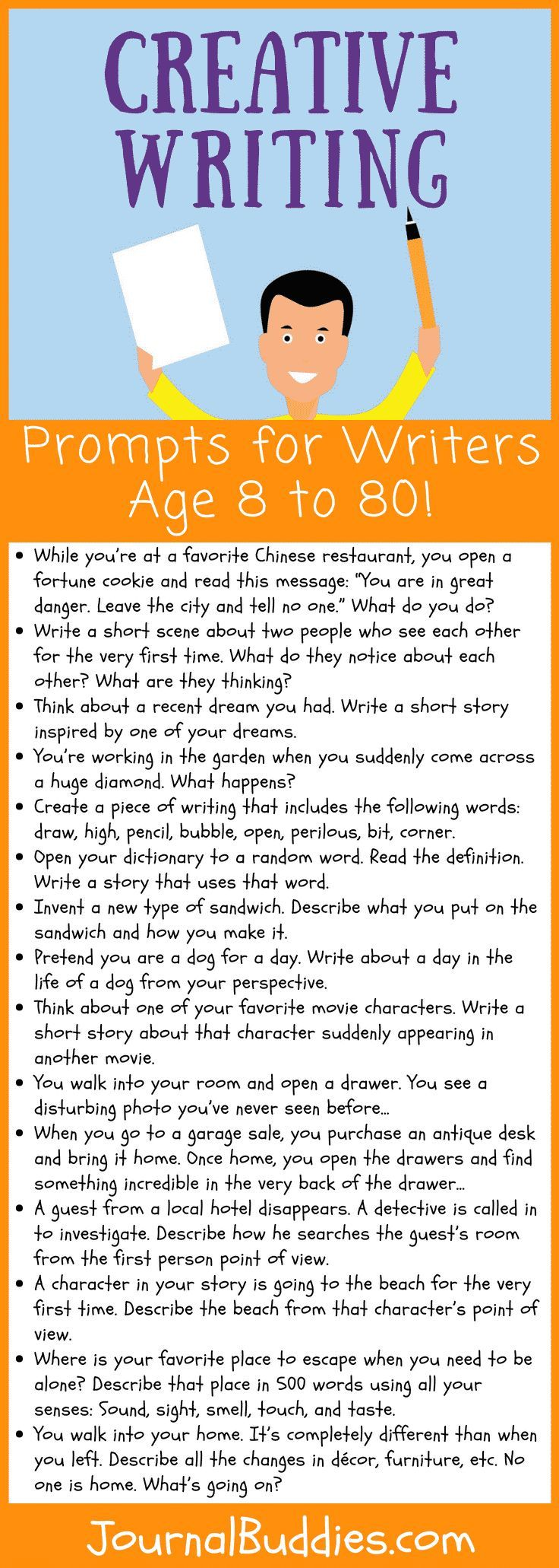 Creative Writing Prompts For Writers Age 8 To 80 Creative Writing Lesson Writing Lessons Writing Prompts For Kids What to write to year old