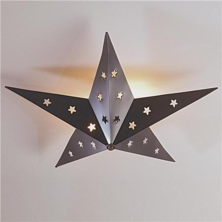 """Rustic Tin Star Ceiling Light 2x60 watts. (7.5""""Hx23.5""""W) $80"""