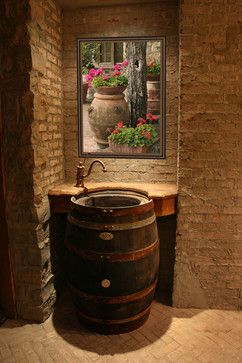 Wine barrel sink; would be awesome with a whiskey barrel too!