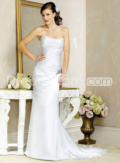 Sheath /Column  Strapless  Chapel Train Satin wedding dress for  brides  2014 Style(WD0254)