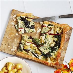 Chard, Artichoke and Blue Cheese Tart Using ready-rolled puff pastry ...