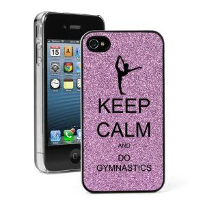 Keep Calm and Do Gymnastics iPhone pink glitter case