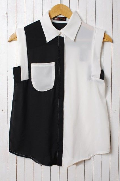 Chic Retro Sleeveless Contrast Color Blouse OASAP.com A way to bring 2 colors together in one garment.