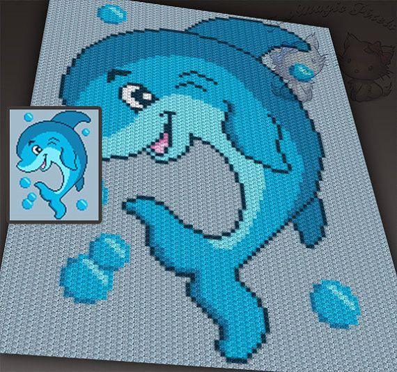 Playful Dolphin c2c graph crochet pattern; instant PDF download; baby blanket…