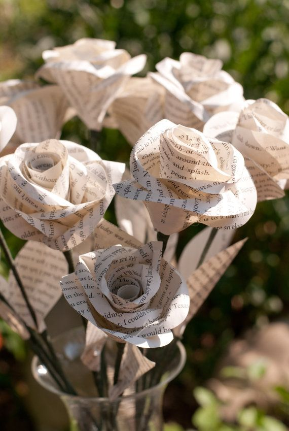 One Dozen Long Stem Book Page Roses by DiddleBug on Etsy, $72.00