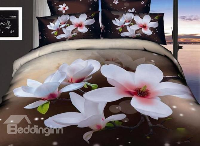 Beautiful White Flowers Print 4 Piece 3d Cotton Duvet