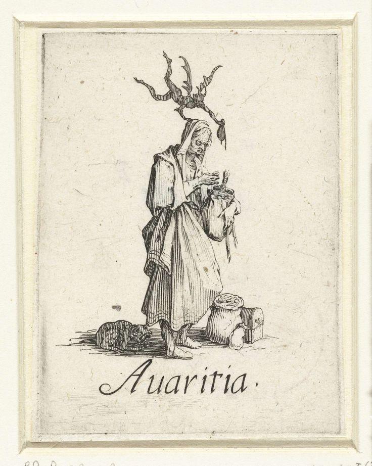 Jacques Callot | Gierigheid, Jacques Callot, 1618 - 1625 | Een oude vrouw houdt een goed gevulde beurs in de ene hand en een munt in de andere hand. Bij haar voeten staan een geldkist en twee geldzakken, achter haar zit een pad, boven haar vliegt een duiveltje. Onder de voorstelling de Latijnse term voor de zonde die de vrouw verbeeldt. Deze prent is onderdeel van een serie van zeven prenten waarop de hoofdzonden als allegorische figuren zijn weergegeven.