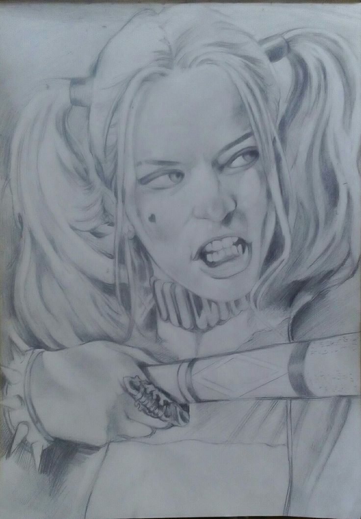 Sketch Potrait on Canson Paper A3  By Artist Mike Eleftheriou Title: Harley Quinn