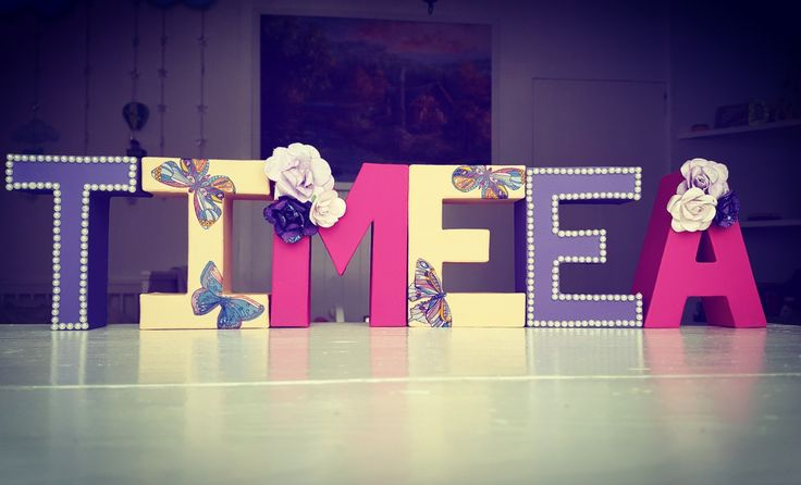 Nursery room letters name decoration girl butterfly