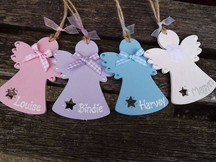 PERSONALISED CHRISTMAS ANGEL Bauble - hand-painted wooden Xmas tree decoration…