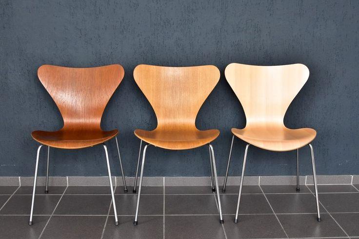 1x Fritz Hansen Stuhl 3107 Eiche Arne Jacobsen chair Stapelstuhl 44cm von 1981