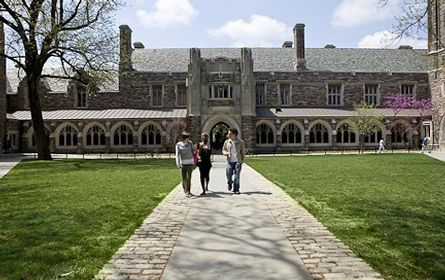 "Princeton University: Rating # 1 Tuition and fees: $40,170 (2013-14) Enrollment: 5,336 Setting: suburban The ivy-covered campus of Princeton University, a private institution, is located in the quiet town of Princeton, N.J. Princeton was the first university to offer a ""no loan"" policy to financially needy students, giving grants instead of loans to accepted students who need help paying tuition. Location: Princeton, NJ"