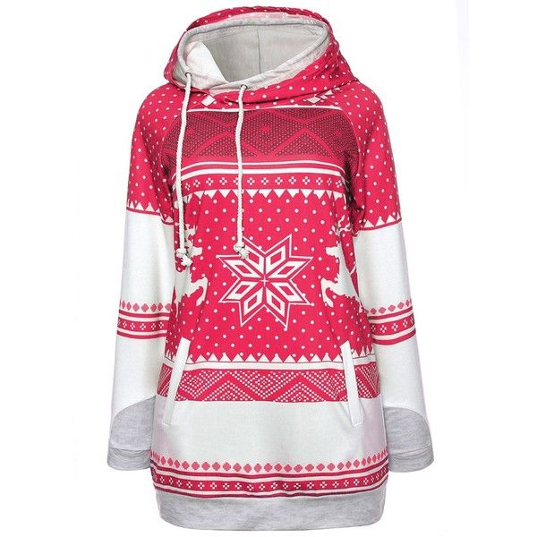 Red 2xl Christmas Elk Snowflake Polka Dot Pocket Hoodie (355 CZK) ❤ liked on Polyvore featuring tops, hoodies, red polka dot top, christmas tops, polka dot hoodie, pocket tops and polka dot top