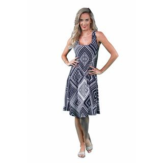 24/7 Comfort Apparel Women's Blue-Cream Rectangle Print Tank Dress   Overstock.com Shopping - The Best Deals on Casual Dresses