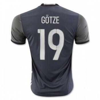 Tyskland 2016 Short Sleeve Gotze 19 Away Soccer Jersey   #Billiga  #fotbollströjor