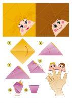 Куклы на пальцы из бумаги. Схема сборки