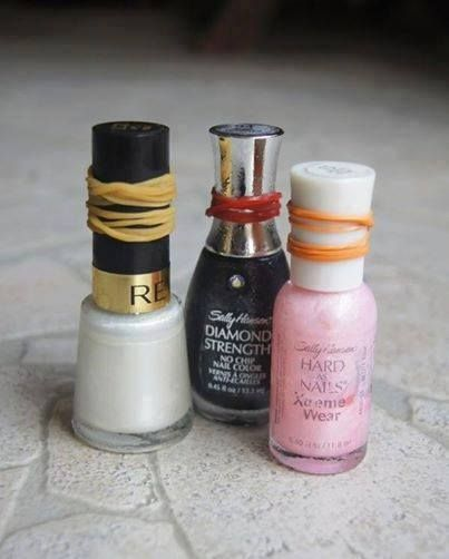 NAIL POLISH BOTTLES STUCK? Wrap a rubber band around the lid for extra grip when opening.