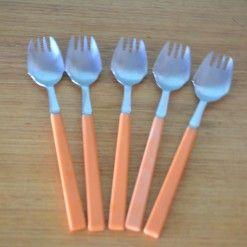Vintage  5 x forks  Sporks orange celluloid set 3