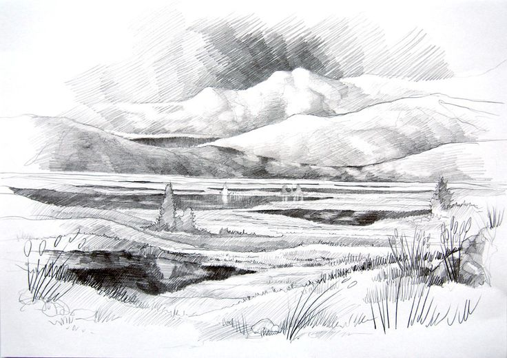 Fantasy landscape by #Minkulul Pencil drawing A4